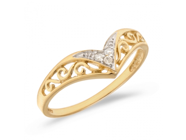 10K Yellow Gold Diamond Chevron Ring - 10K Yellow Gold Diamond Chevron Ring