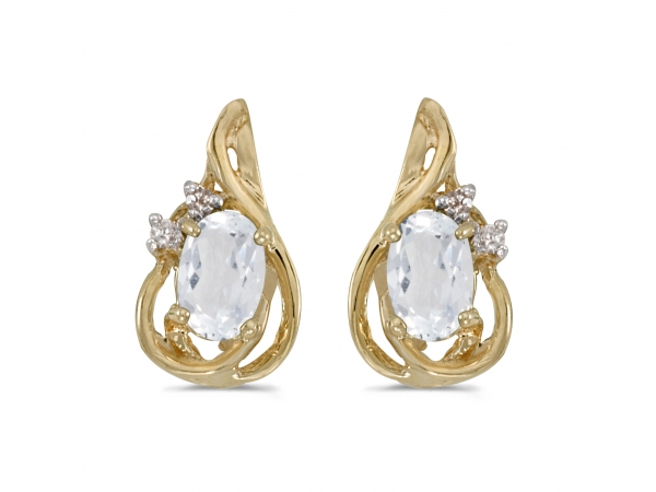 10k Yellow Gold Oval White Topaz And Diamond Teardrop Earrings by Color Merchants