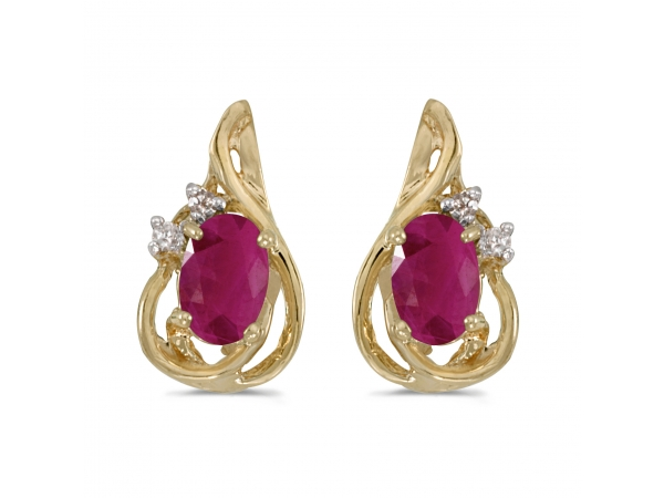 10k Yellow Gold Oval Ruby And Diamond Teardrop Earrings - These 10k yellow gold oval ruby and diamond teardrop earrings feature 6x4 mm genuine natural rubys with a 0.72 ct total weight.