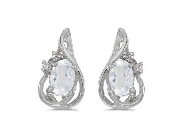 14k White Gold Oval White Topaz And Diamond Teardrop Earrings by Color Merchants