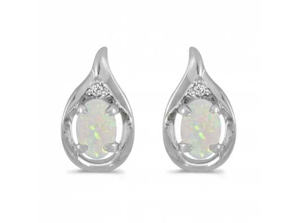 10k White Gold Oval Opal And Diamond Earrings - These 10k white gold oval opal and diamond earrings feature 6x4 mm genuine natural opals with a 0.38 ct total weight.