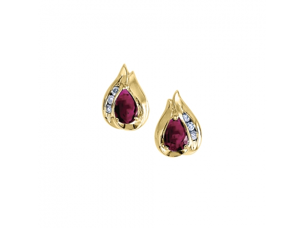 14k Yellow Gold Pear Ruby And Diamond Earrings - Stunning 14k yellow gold earrings with pear-shaped natural rubies and .10 carats of glistening diamonds.