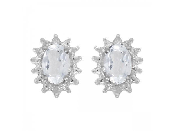10k White Gold Oval White Topaz And Diamond Earrings by Color Merchants
