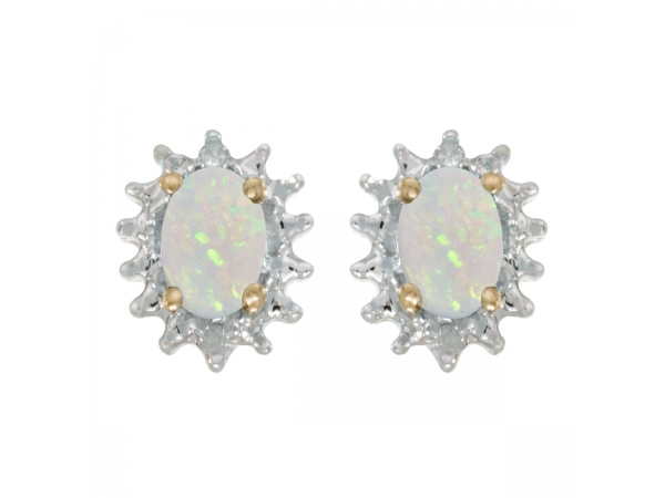 14k Yellow Gold Oval Opal And Diamond Earrings - These 14k yellow gold oval opal and diamond earrings feature 6x4 mm genuine natural opals with a 0.38 ct total weight and .04 ct diamonds.
