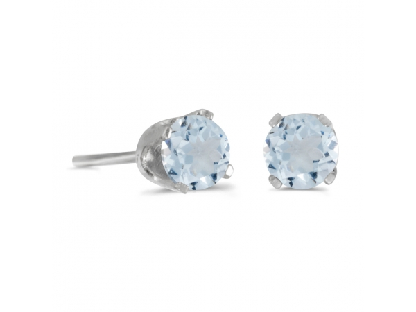 4 mm Round AquamarineScrew-back Stud Earrings in 14k White Gold - These 14k white gold round aquamarine screw-back stud earrings feature 4 mm genuine natural aquamarines with a 0.38 ct total weight.
