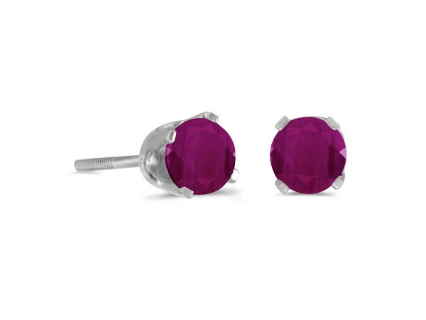 4 mm Round Ruby Screw-back Stud Earrings in 14k White Gold - 14k white gold screw-back stud earrings with 4 mm natural rubies.