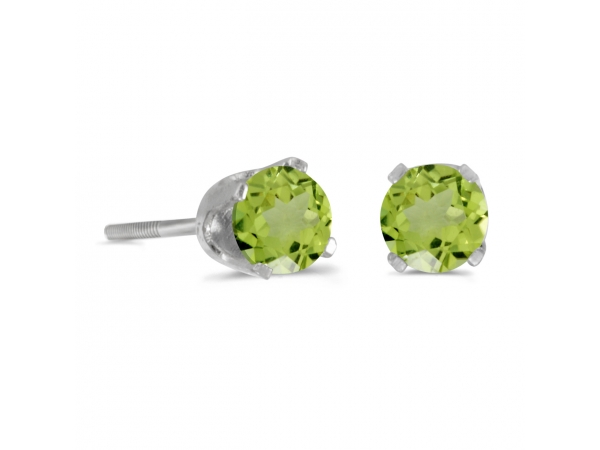 4 mm Round Peridot Screw-back Stud Earrings in 14k White Gold - 14k white gold screw-back stud earrings with 4 mm natural peridots.