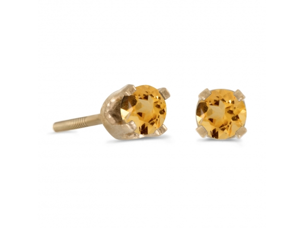 3 mm Petite Round Citrine Screw-back Stud Earrings in 14k Yellow Gold by Color Merchants