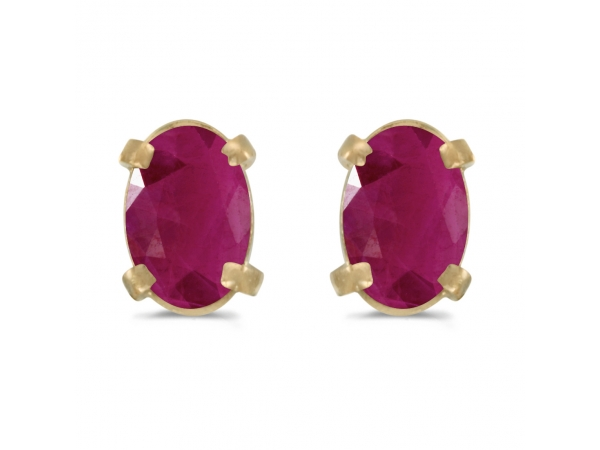 14k Yellow Gold Oval Ruby Earrings by Color Merchants
