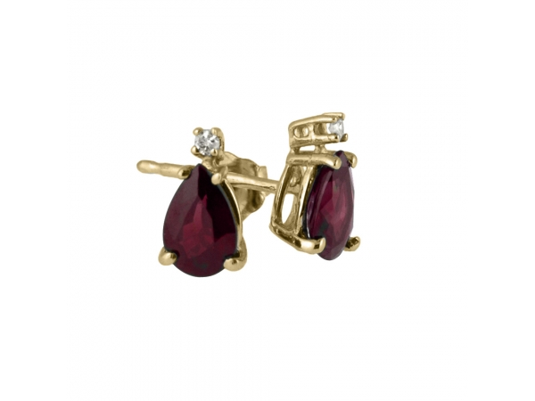 14k Yellow Gold  Pear Shaped Ruby And Diamond Earrings - These 6x4 mm pear shaped ruby earrings are set in beautiful 14k yellow gold and feature .02 total carat diamonds.