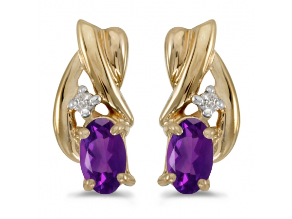 10k Yellow Gold Oval Amethyst And Diamond Earrings by Color Merchants