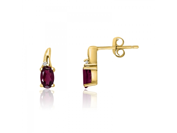 14k Yellow Gold Ruby and Diamond Earrings by Color Merchants