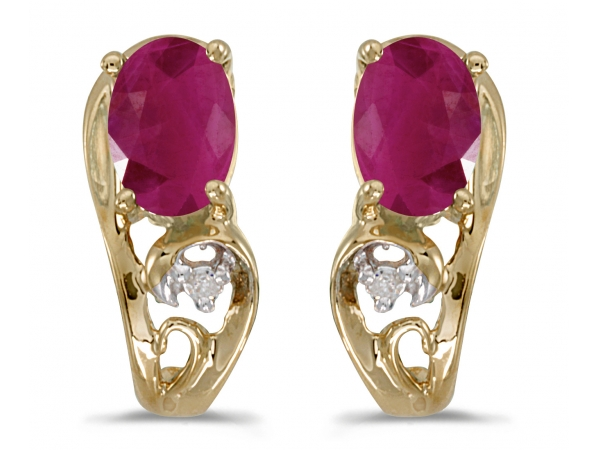 10k Yellow Gold Oval Ruby And Diamond Earrings by Color Merchants