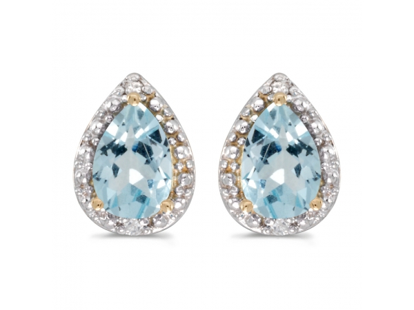 14k Yellow Gold Pear Aquamarine And Diamond Earrings by Color Merchants