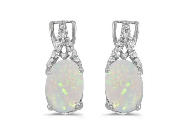 10k White Gold Oval Opal And Diamond Earrings by Color Merchants