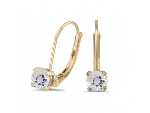 14k Yellow Gold Round White Topaz Lever-back Earrings - These 14k yellow gold round white topaz lever-back earrings feature 4 mm genuine natural white topaz with a 0.56 ct total weight.