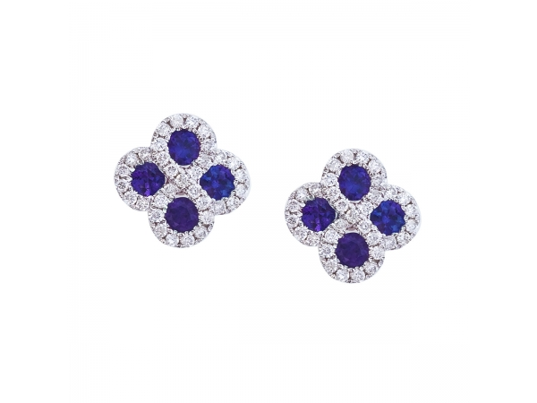 14k White Gold Sapphire and .26 ct Diamond Clover Earrings by Color Merchants