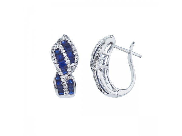 14k White Gold Sapphire and Diamond Swirl Earring by Color Merchants