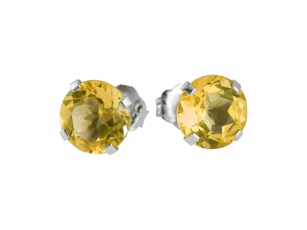14k White Gold 6mm Round Citrine Stud Earrings (1.2 ct) by Color Merchants