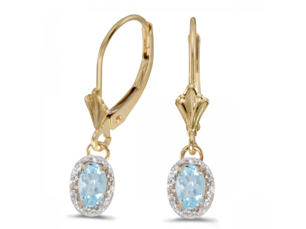 10k Yellow Gold Oval Aquamarine And Diamond Leverback Earrings - Beautiful 10k yellow gold leverback earrings with stunning 6x4 mm aquamarines complemented with bright diamonds.