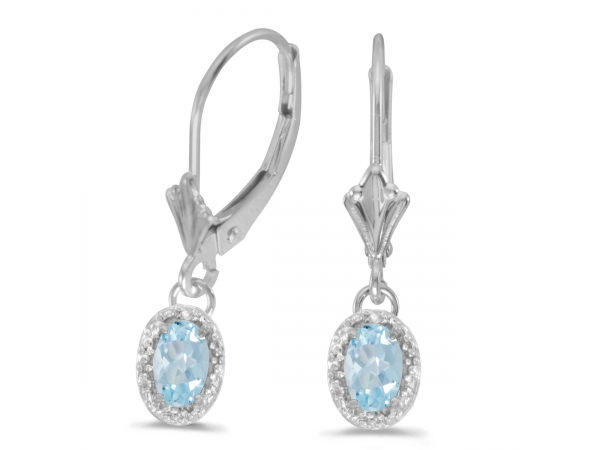 10k White Gold Oval Aquamarine And Diamond Leverback Earrings - Beautiful 10k white gold leverback earrings with stunning 6x4 mm aquamarines complemented with bright diamonds.