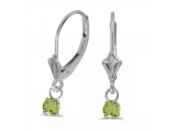 14k White Gold Round Peridot Lever-back Earrings by Color Merchants