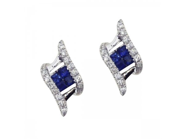 14k White Gold Sapphire and Diamond Angled Earrings by Color Merchants