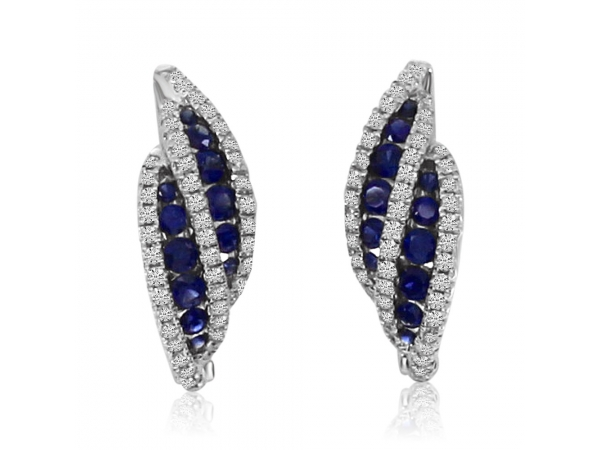 14k White Gold Bypass Sapphire and Diamond Earrings by Color Merchants