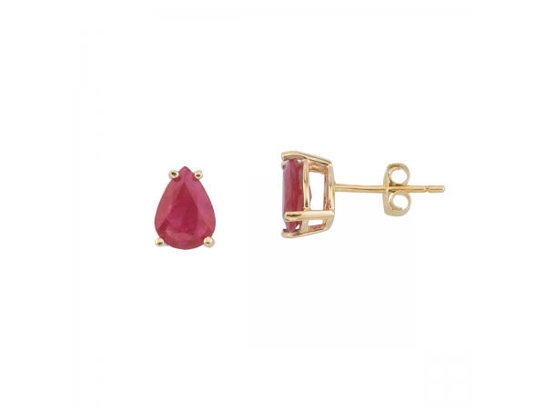 14k Yellow Gold Pear Shaped Ruby Earrings by Color Merchants