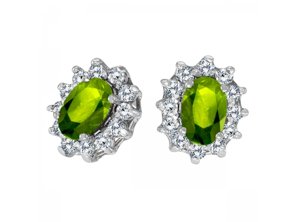 14k White Gold Oval Peridot And 25 Total Ct Diamond Earrings E8031xw 08 From Enhancery Jewelers San Go Ca
