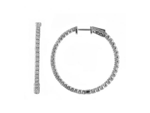 14K 4ct White Gold Diamond Secure Lock 35 mm Hoop Earrings - These 35x35 mm patented secure lock inside-outside diamond hoop earrings feature 4 carats of stunning diamonds.