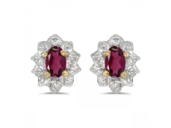 14k Yellow Gold Oval Rhodolite Garnet And Diamond Earrings by Color Merchants