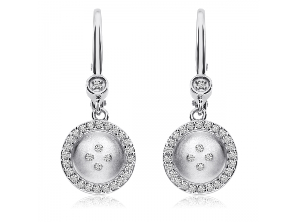 14K White Gold Satin Button Lever Back Earrings by Color Merchants