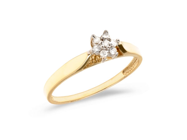10K Yellow Gold Diamond Cluster Ring - 10K Yellow Gold Diamond Cluster Ring