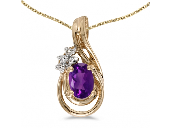 10k Yellow Gold Oval Amethyst And Diamond Teardrop Pendant - This 10k yellow gold oval amethyst and diamond teardrop pendant features a 6x4 mm genuine natural amethyst with a 0.34 ct total weight and bright diamonds.