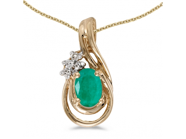 10k Yellow Gold Oval Emerald And Diamond Teardrop Pendant - This 10k yellow gold oval emerald and diamond teardrop pendant features a 6x4 mm genuine natural emerald with a 0.31 ct total weight and bright diamonds.