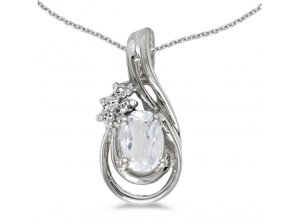 10k White Gold Oval White Topaz And Diamond Teardrop Pendant - This 10k white gold oval white topaz and diamond teardrop pendant features a 6x4 mm genuine natural white topaz with a 0.48 ct total weight and bright diamonds.