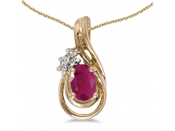 14k Yellow Gold Oval Ruby And Diamond Teardrop Pendant - This 14k yellow gold oval ruby and diamond teardrop pendant features a 6x4 mm genuine natural ruby with a 0.36 ct total weight and bright diamonds.