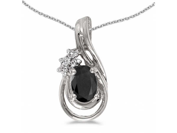 14k White Gold Oval Onyx And Diamond Teardrop Pendant - This 14k white gold oval onyx and diamond teardrop pendant features a 6x4 mm genuine natural onyx with a 0.39 ct total weight and bright diamonds.