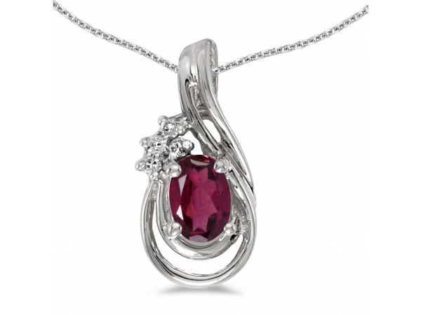 14k White Gold Oval Rhodolite Garnet And Diamond Teardrop Pendant - This 14k white gold oval rhodolite garnet and diamond teardrop pendant features a 6x4 mm genuine natural rhodolite garnet with a 0.49 ct total weight and bright diamonds.