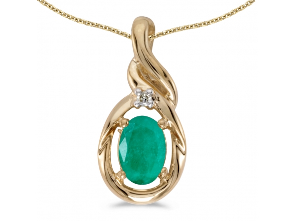 10k Yellow Gold Oval Emerald And Diamond Pendant - This 10k yellow gold oval emerald and diamond pendant features a 6x4 mm genuine natural emerald with a 0.31 ct total weight and shimmering diamond accents.