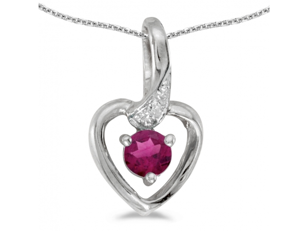 10k White Gold Round Rhodolite Garnet And Diamond Heart Pendant - This 10k white gold round rhodolite garnet and diamond heart pendant features a 4 mm genuine natural rhodolite garnet with a 0.25 ct total weight and shimmering diamond accents.