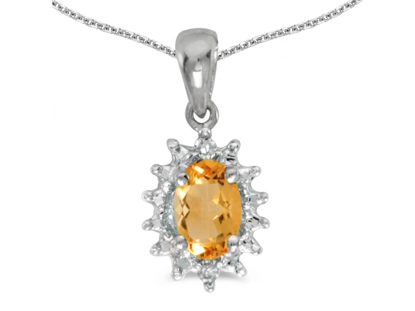 10k White Gold Oval Citrine And Diamond Pendant - This 10k white gold oval citrine and diamond pendant features a 6x4 mm genuine natural citrine with a 0.31 ct total weight and bright diamonds in trendy shape.