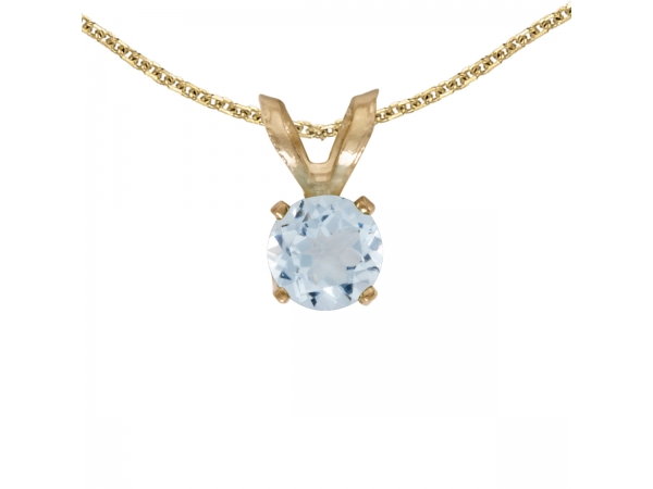 14k Yellow Gold Round Aquamarine Pendant by Color Merchants