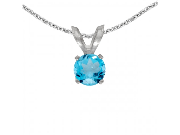 14k White Gold Round Blue Topaz Pendant - This 14k white gold round blue topaz pendant features a 4 mm genuine natural blue topaz with a 0.26 ct total weight.