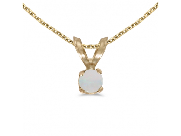 14k Yellow Gold Round Opal Pendant - This 14k yellow gold round opal pendant features a 3 mm genuine natural opal with a 0.04 ct total weight.