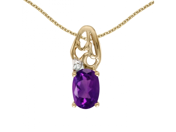 14k Yellow Gold Oval Amethyst And Diamond Pendant - This 14k yellow gold oval amethyst and diamond pendant features a 6x4 mm genuine natural amethyst with a 0.34 ct total weight.