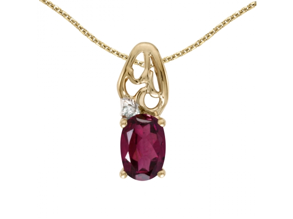 14k Yellow Gold Oval Rhodolite Garnet And Diamond Pendant - This 14k yellow gold oval rhodolite garnet and diamond pendant features a 6x4 mm genuine natural rhodolite garnet with a 0.49 ct total weight.