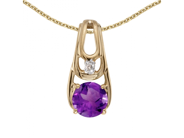 10k Yellow Gold Round Amethyst And Diamond Pendant - This 10k yellow gold round amethyst and diamond pendant features a 5 mm genuine natural amethyst with a 0.39 ct total weight.