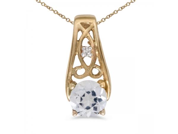 10k yellow gold round white topaz and diamond pendant. Black Bedroom Furniture Sets. Home Design Ideas